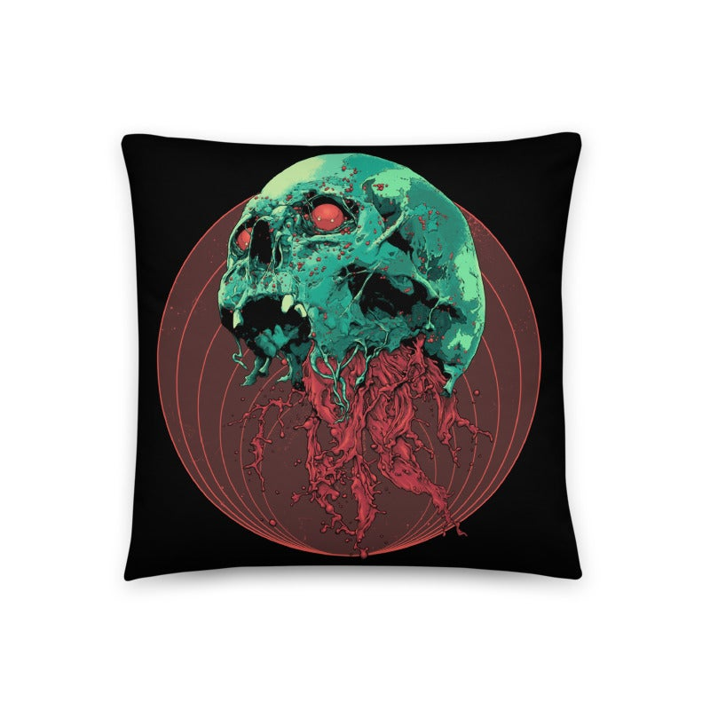 Image of Skull Full Of Blood Throw Pillow