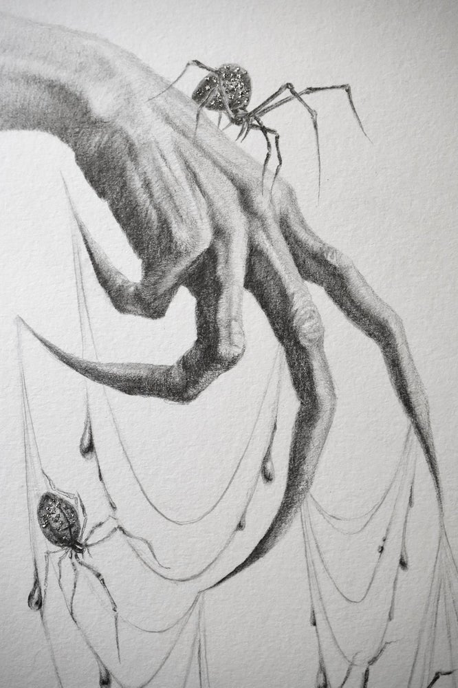 Image of Seven Silver Spiders Original graphite drawing with silver glitter