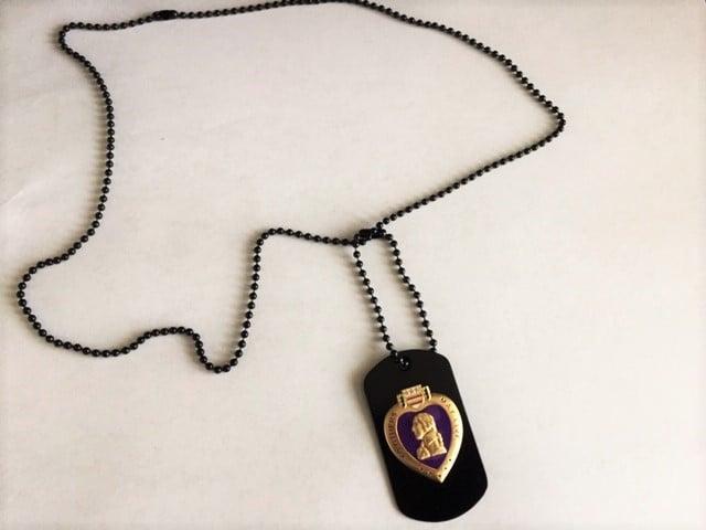 Image of Veteran Purple Heart on a Black dog tag