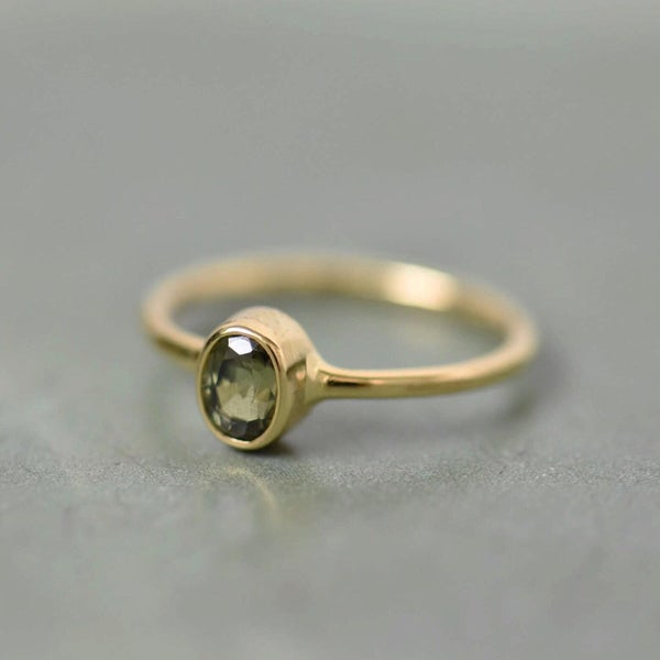 Image of Rare Natural Tazania Green Sapphire oval cut 14k gold ring