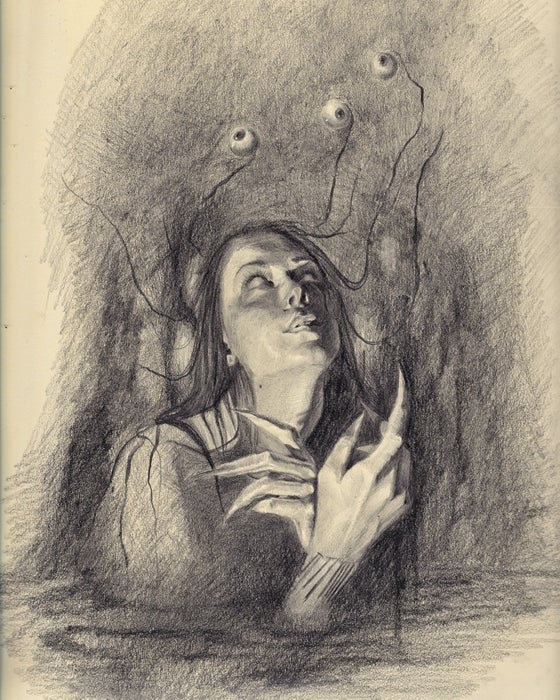 Image of The Watcher original graphite drawing on paper