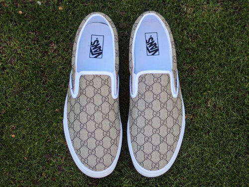 "Image of ""All-Over GG"" Vans Slip-Ons"