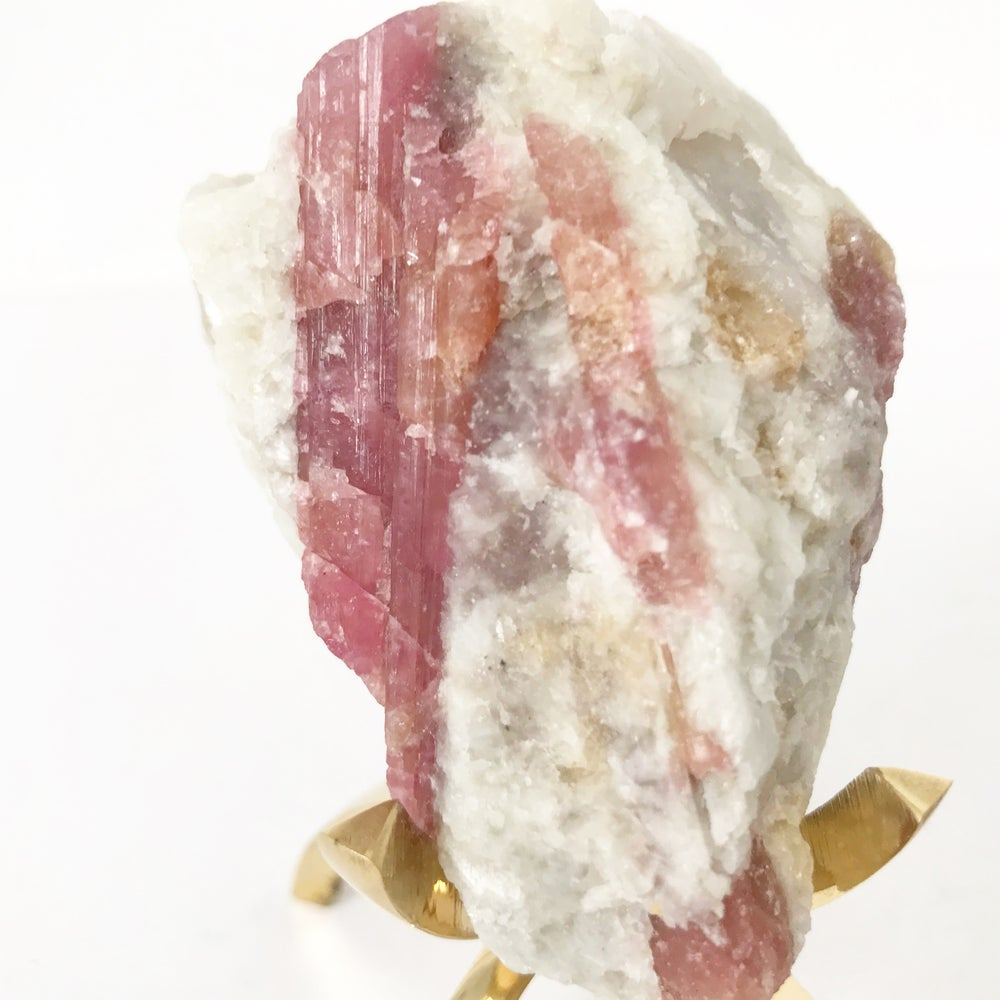 Image of Pink Tourmaline no.11 Sugarplum Collection Brass Claw Pairing