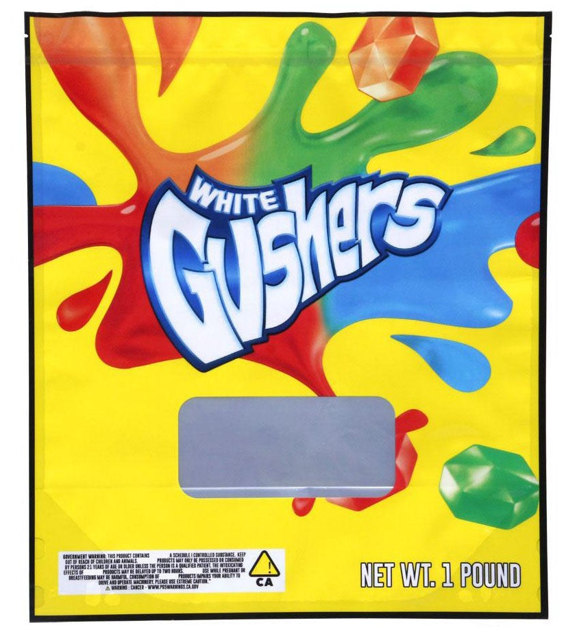 Image of White Gushers Bags Empty 1 Pound Size Smell Proof Mylar Bags