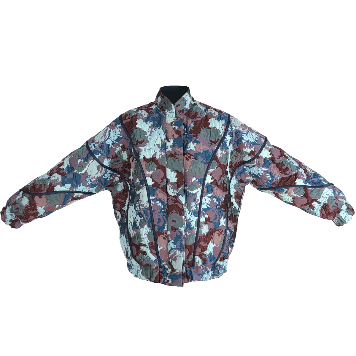 Image of BLUE FLOWER ORBIT BOMBER JACKET