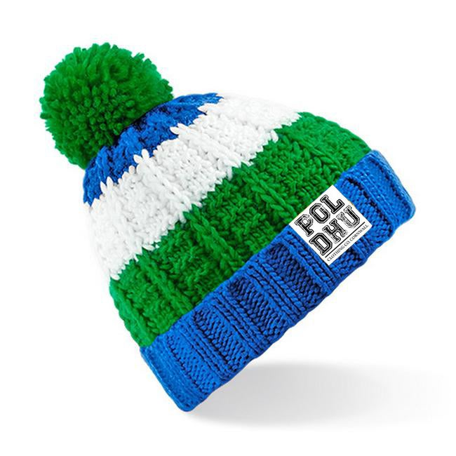 UNISEX STRIPED BOBBLE HAT - GREEN/BLUE