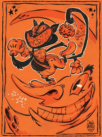 Image of Mr. Jinx, the Halloween Cat and the Moon