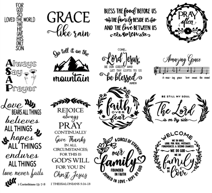 Inspirational Sayings & Religious Designs Collection