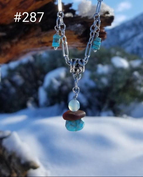 Image of Sea Glass- Turquoise- Agate- Necklace- #287