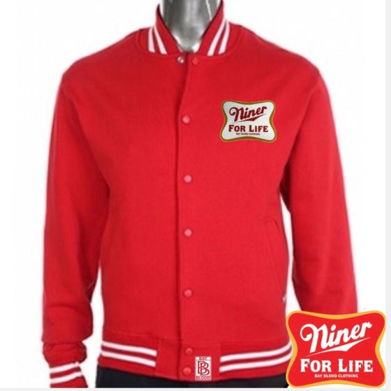 Image of Niner For Life chenille patch Baseball Jacket (red)