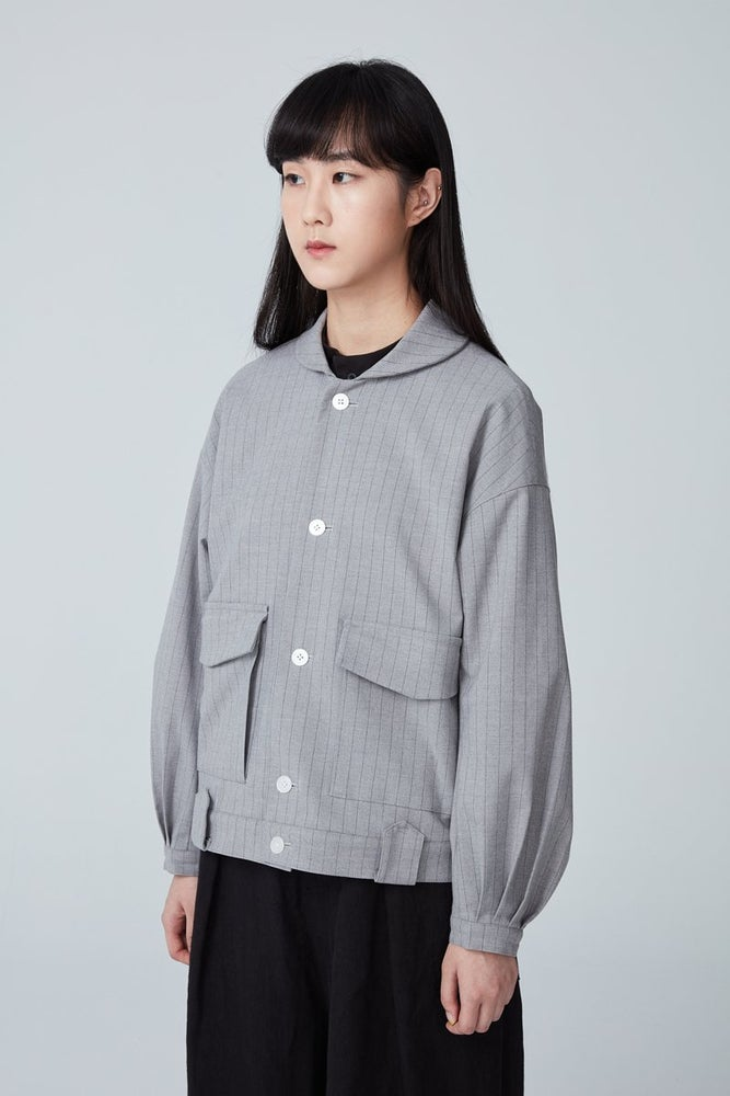 Image of TRAN - 綁帶寛䄂短外套 (灰)