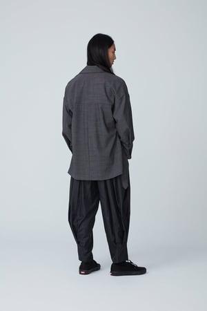 Image of TRAN - 不對稱綁帶和式外套 (灰)
