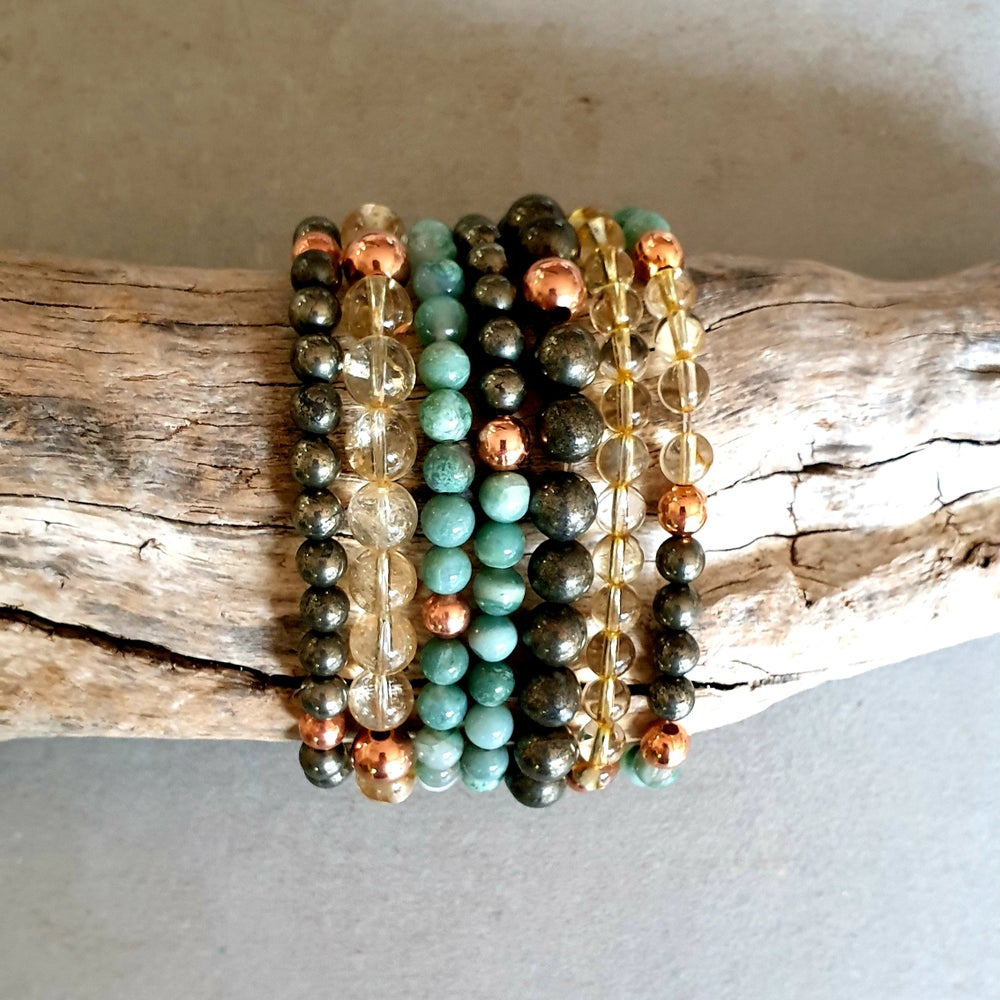 Image of FINANCIAL PROSPERITY BRACELET - African Jade - Citrine - Pyrite - Copper