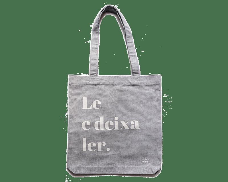 """Image of Bolsa tote algodón reciclado gris """"Le e deixa ler"""""""