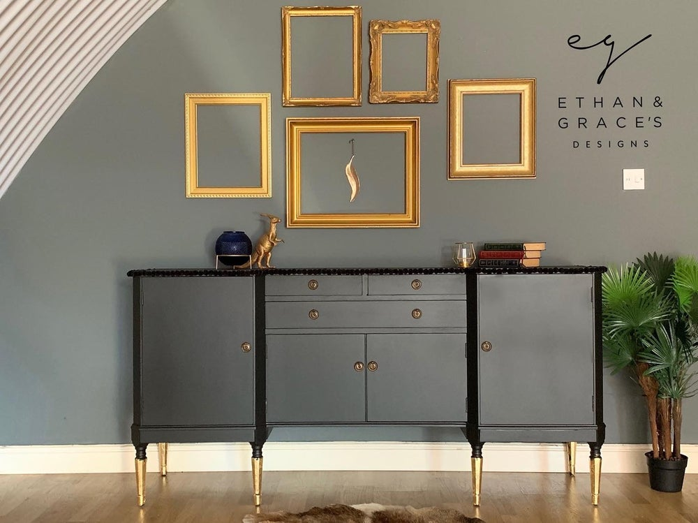 Image of Black & gold Pom Pom sideboard