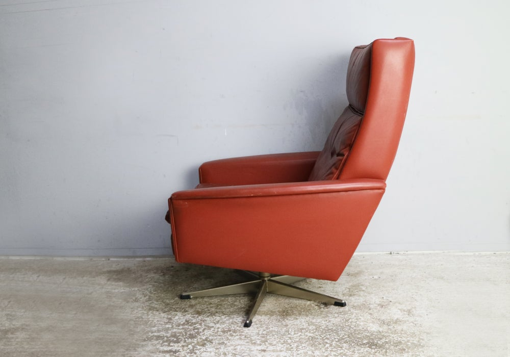 Image of 1970's Danish mid century leather swivel lounge chair