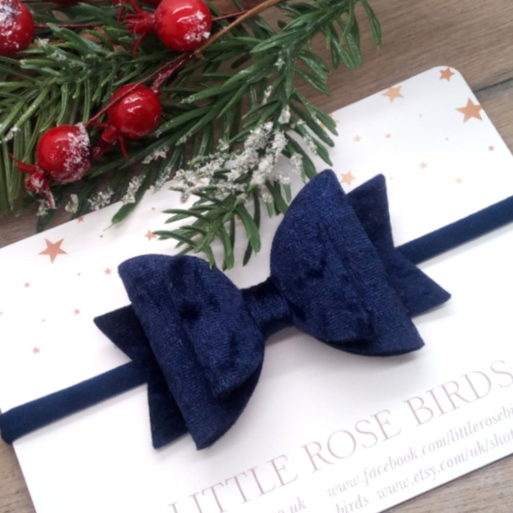 Image of Navy Blue Velvet Bow - Choice of Size