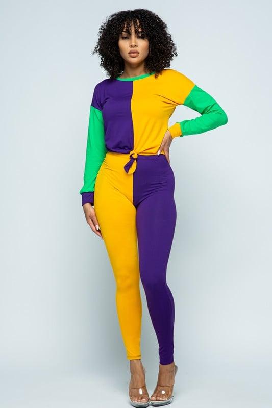 Image of Color Block Mardi Gras Pants Set