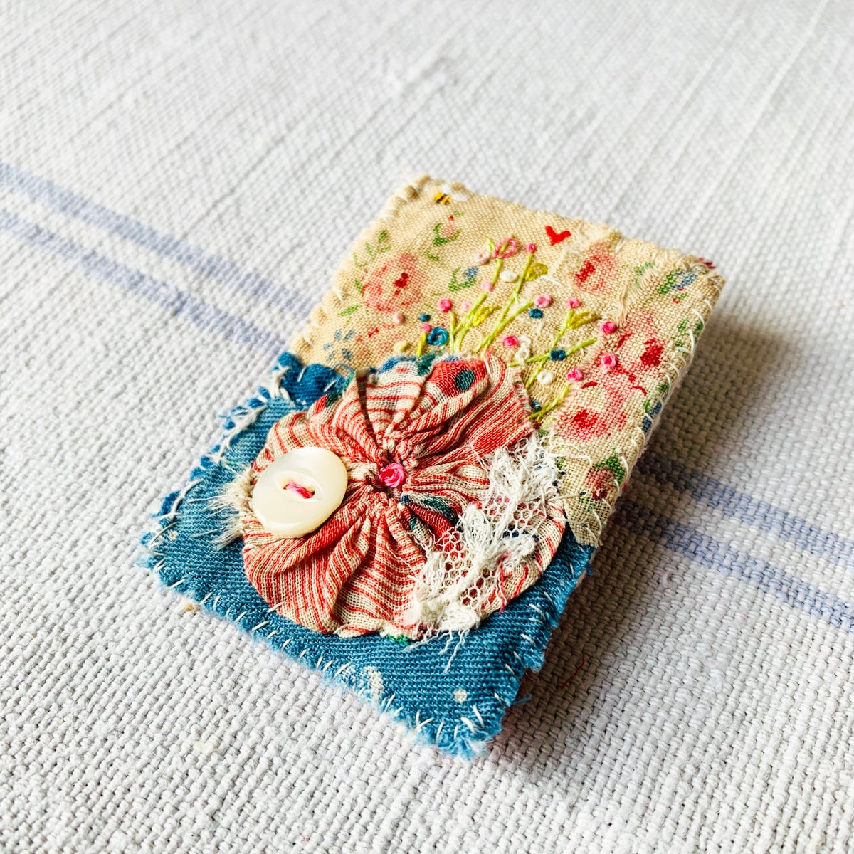 Image of Brooch - hand embroidered flowers
