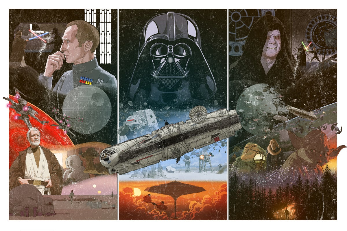 Image of Star Wars original trilogy triptych (weathered VHS variant)