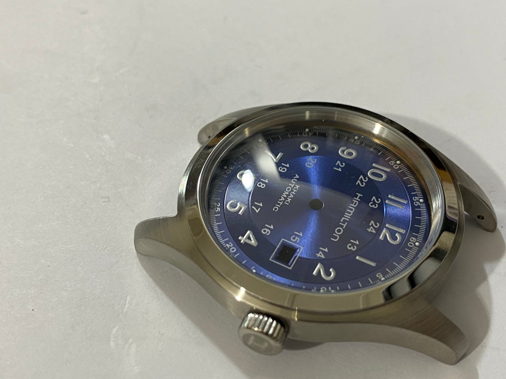 Image of BEAUTIFUL HAMILTON KHAKI LARGE CASED GENTS WATCH CASING ETC.(RARE BLUE DIAL)