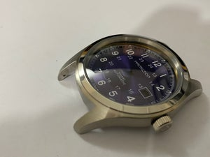 Image of BEAUTIFUL HAMILTON KHAKI LARGE CASED GENTS WATCH CASING ETC.(PURPLE DIAL)