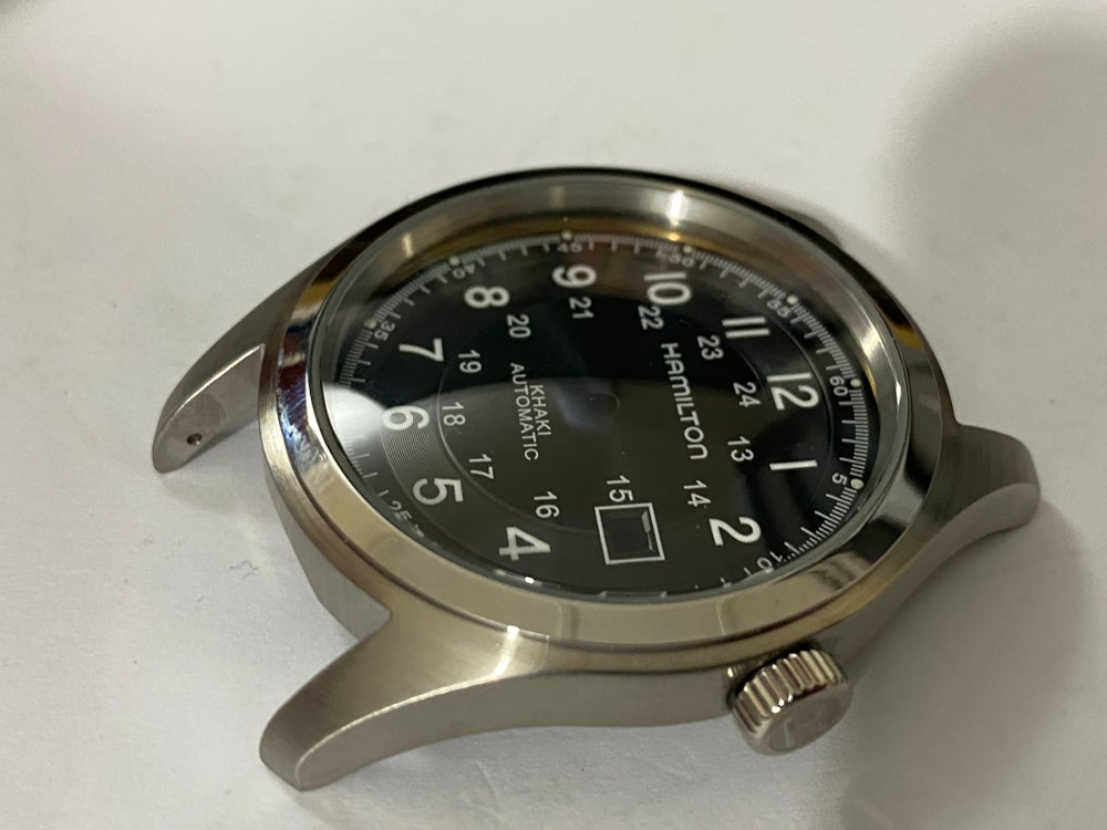 Image of BEAUTIFUL HAMILTON KHAKI LARGE CASED GENTS WATCH CASING ETC.(BLACK DIAL)