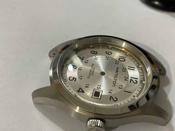 Image of BEAUTIFUL HAMILTON KHAKI LARGE CASED GENTS WATCH CASING ETC.(SILVER DIAL)