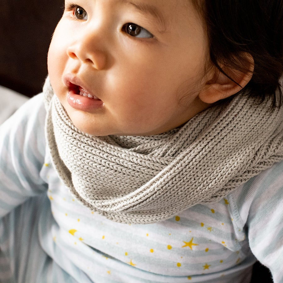 Image of Infinity Kids Knitted Scarf . Warm Grey