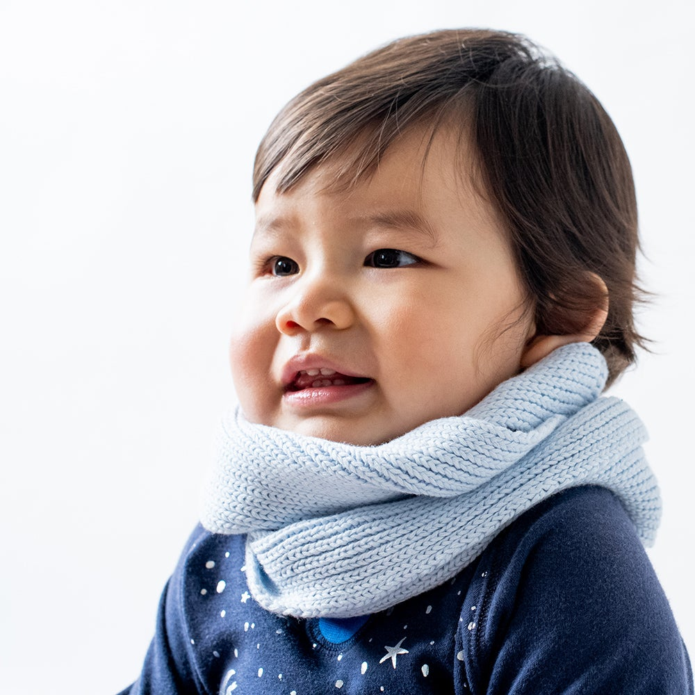 Image of Infinity Kids Knitted Scarf . Baby Blue
