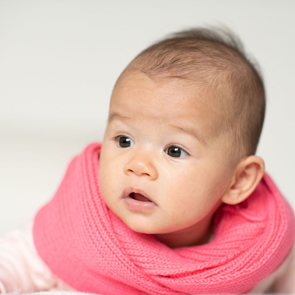 Image of Infinity Kids Knitted Scarf . Rose Pink