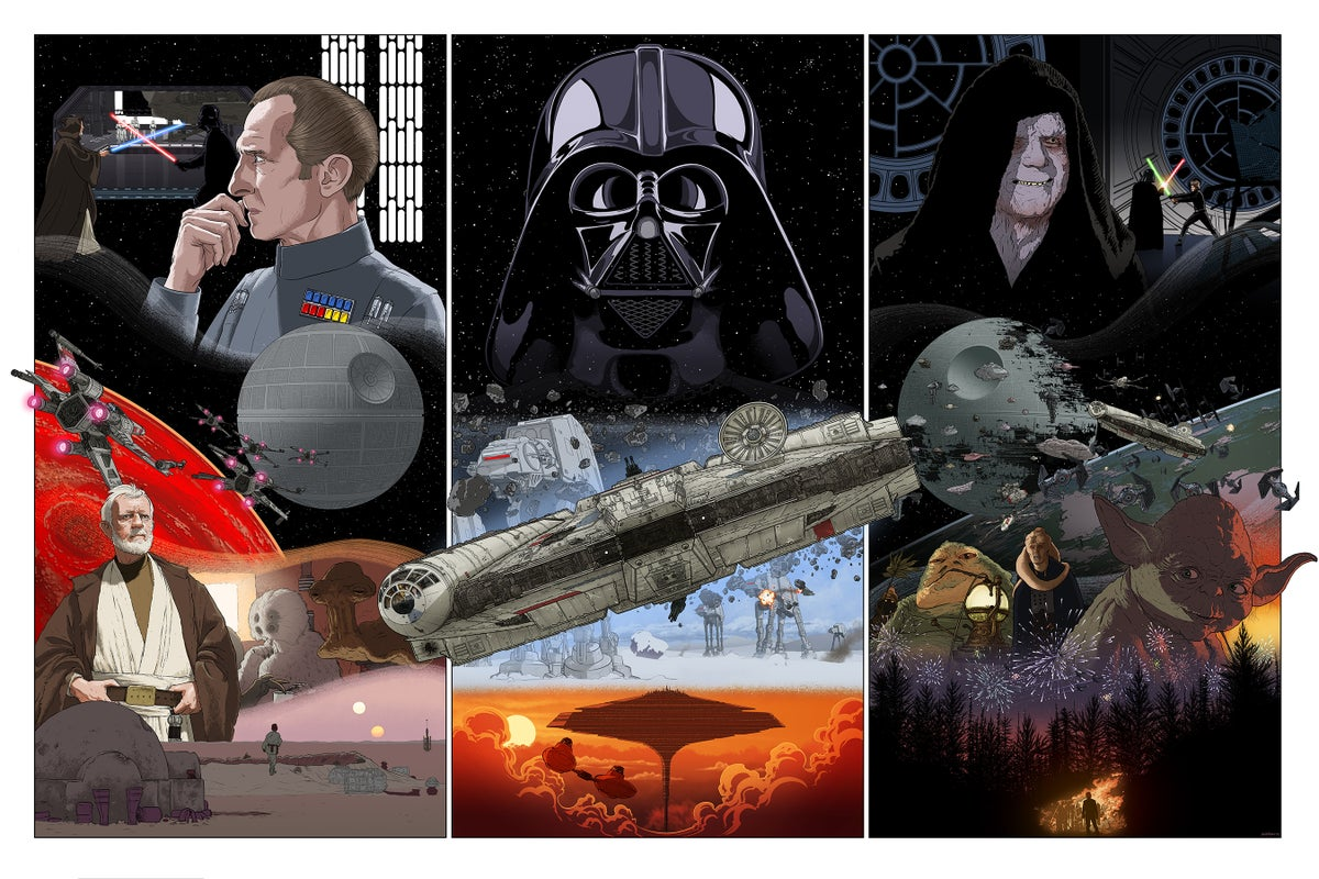 Image of Star Wars original trilogy triptych