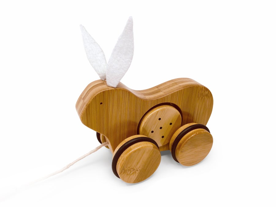 Image of Kinderfeets Bamboo Push & Pull Animal: Rabbit