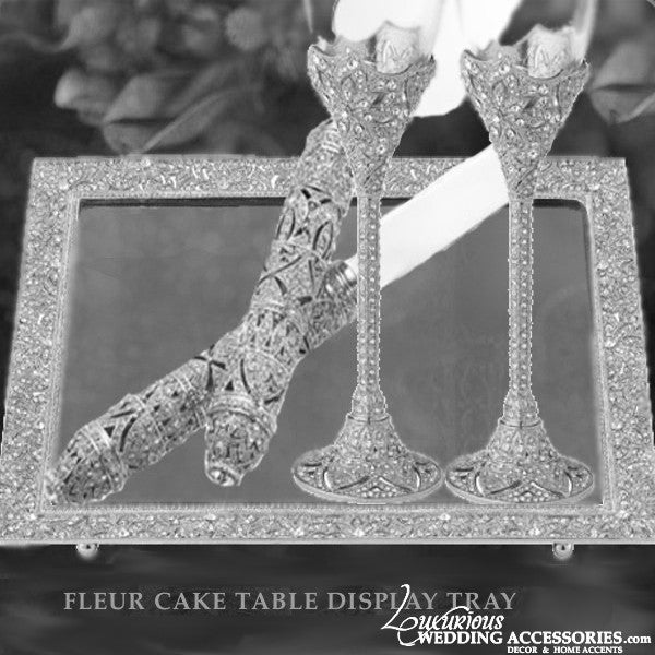 Image of Fleur Silver Cake Table Mirrored Display Tray