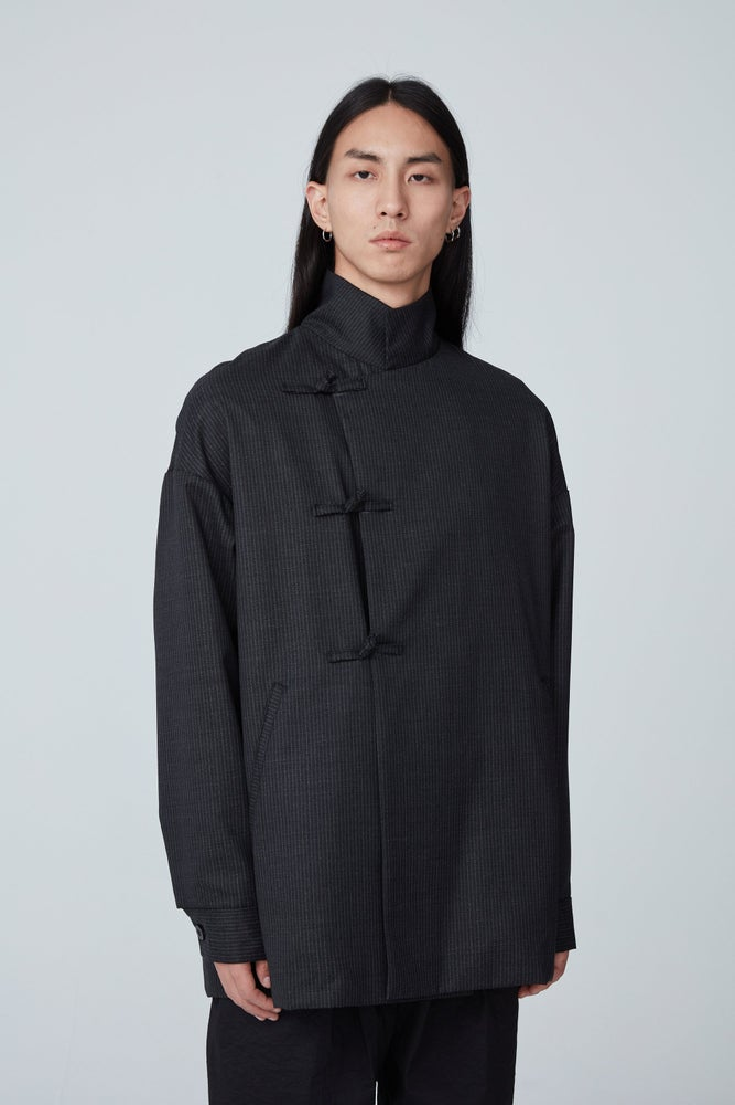 Image of TRAN - 高領風衣外套 (黑條紋)