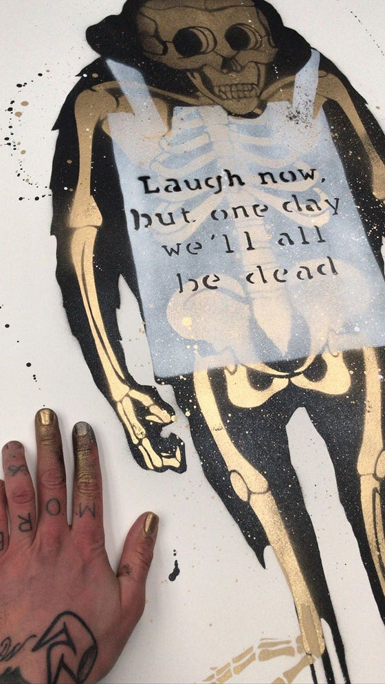 Image of Laugh Now Stencil cut