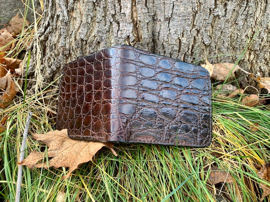 Image of Crocodile and Horween Dublin Sage Horse Leather Bi-fold Wallet