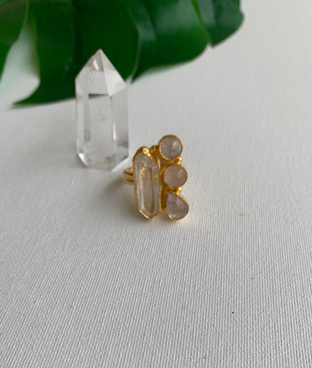 Image of PRINCESS • Clear quartz & rose quartz ring