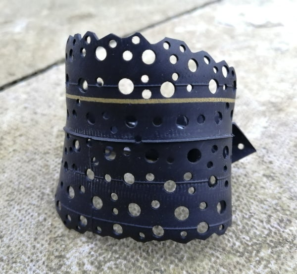 Image of Bike inner tube bracelet with yellow stripe