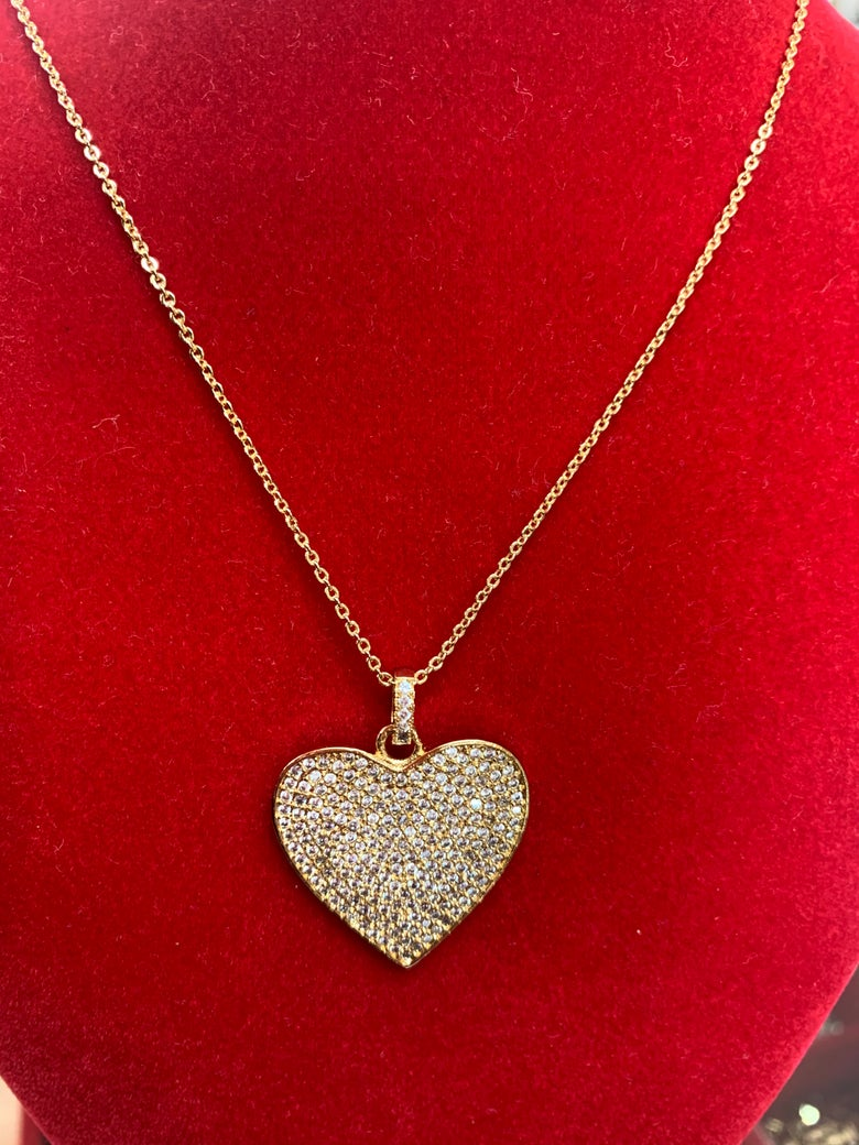 Image of Diamond Solid heart necklace