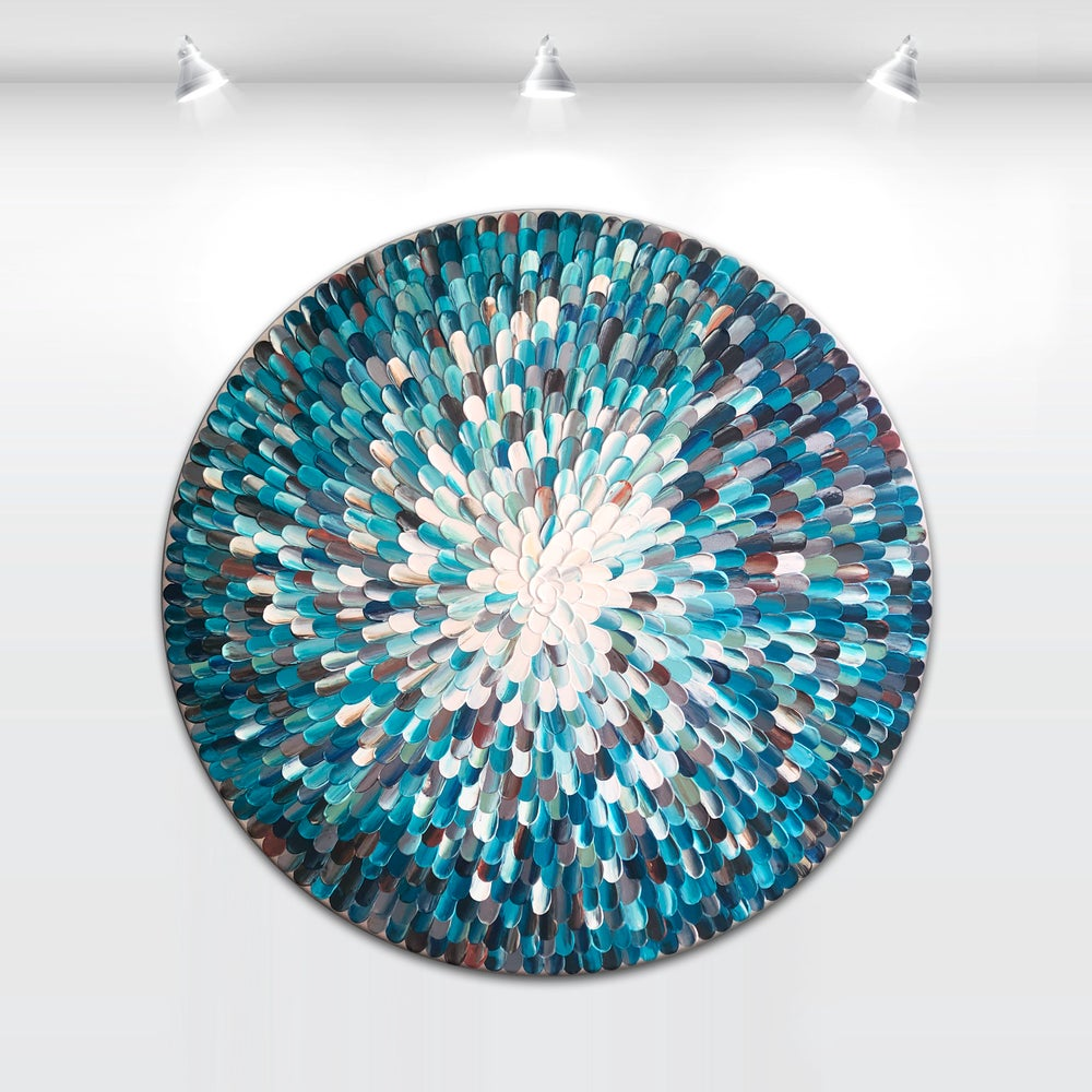 Image of 'Crystalus aqua IV' - 76x76cm