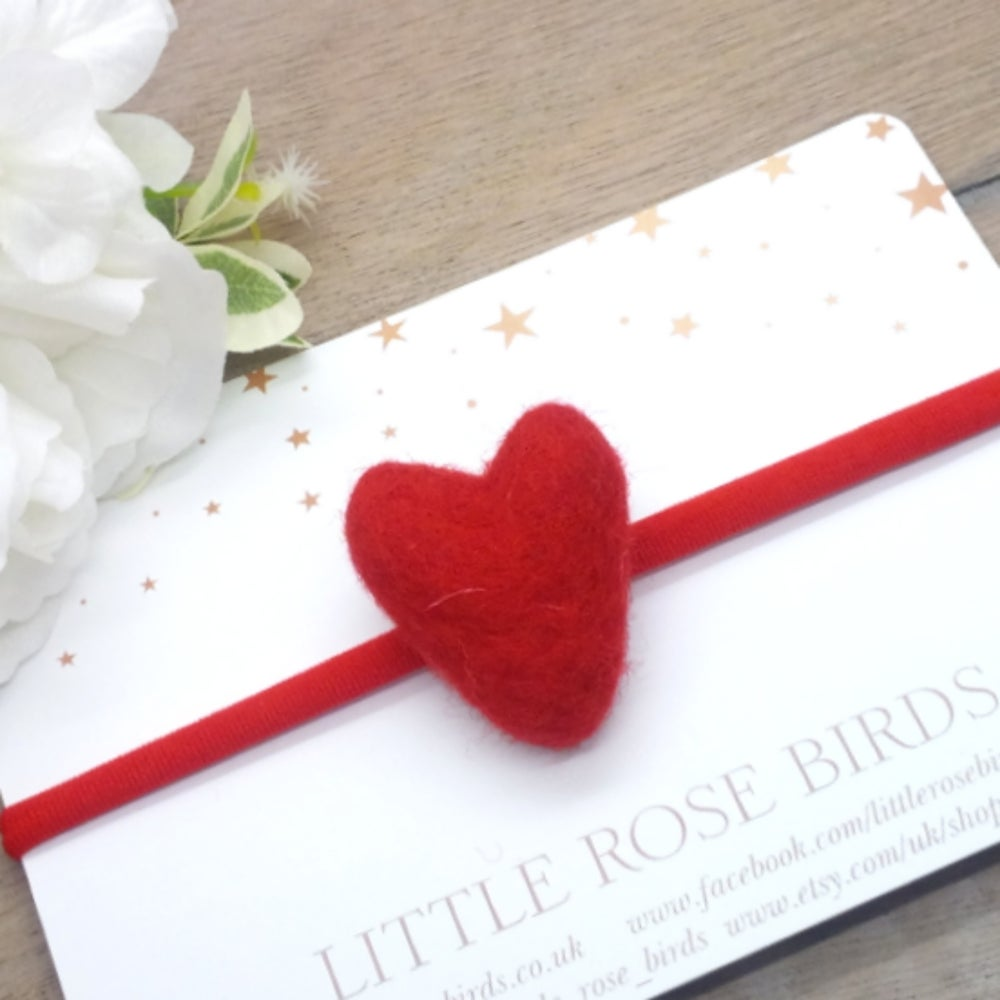 Image of Red Felt Heart Headband