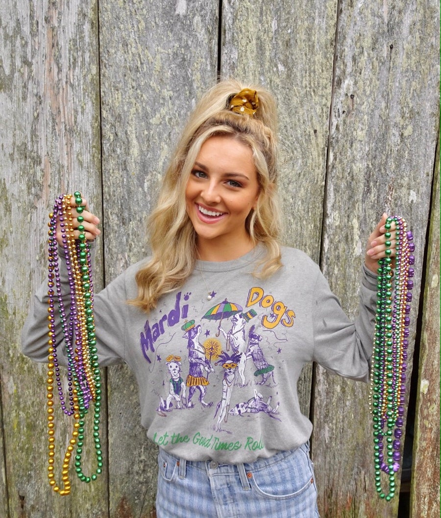 Image of Adult Mardi Dogs Long Sleeve Tee