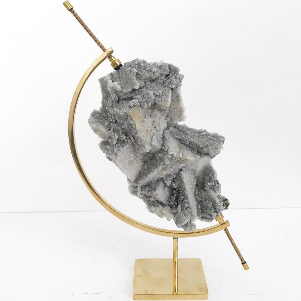 Image of Fluorite/Quartz/Chalcopyrite no.22 + Brass Arc Stand