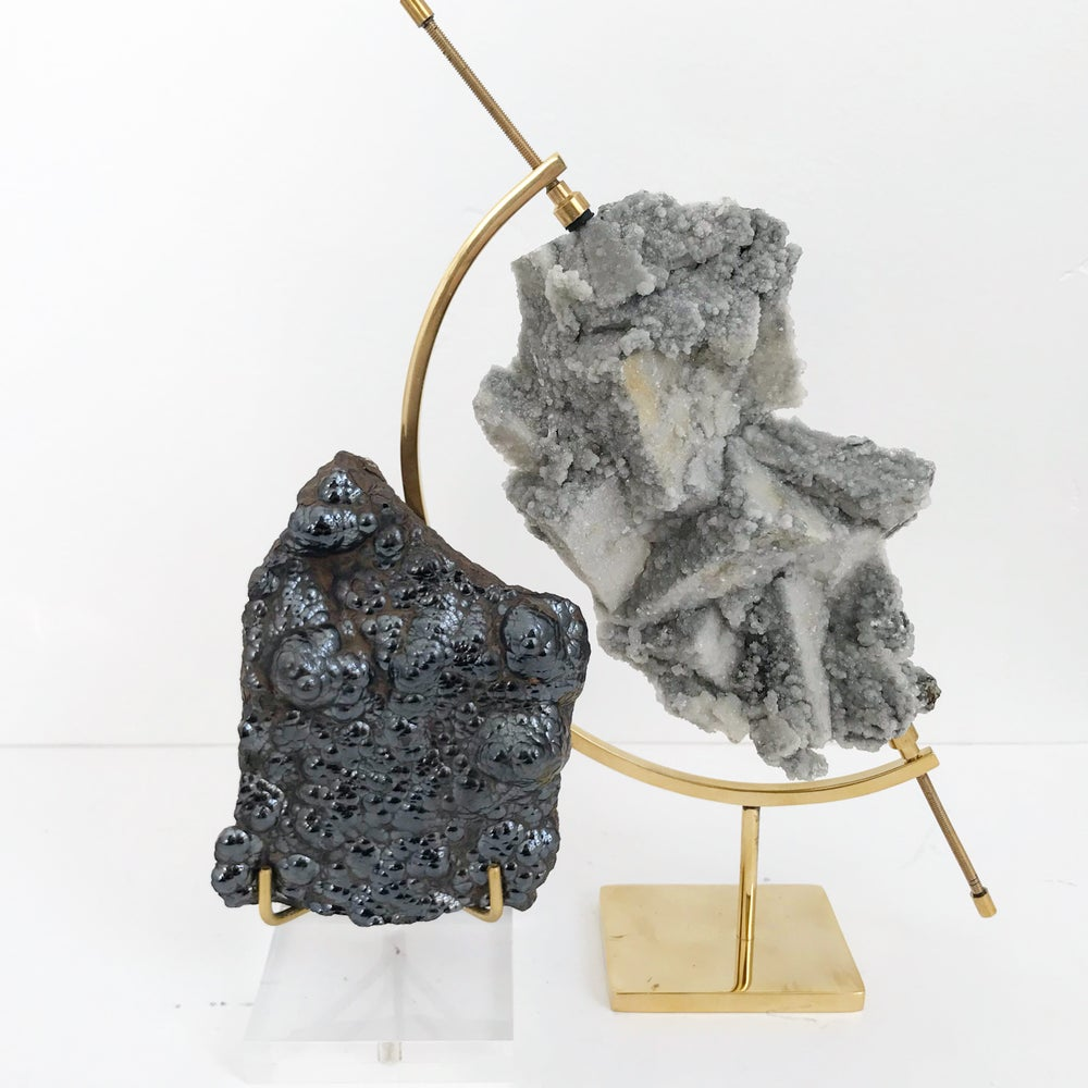 Image of Fluorite/Quartz/Chalcopyrite no.22 + Brass Arc Stand