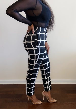 Image of Vintage Black & White High-Waisted Trousers - Size 4