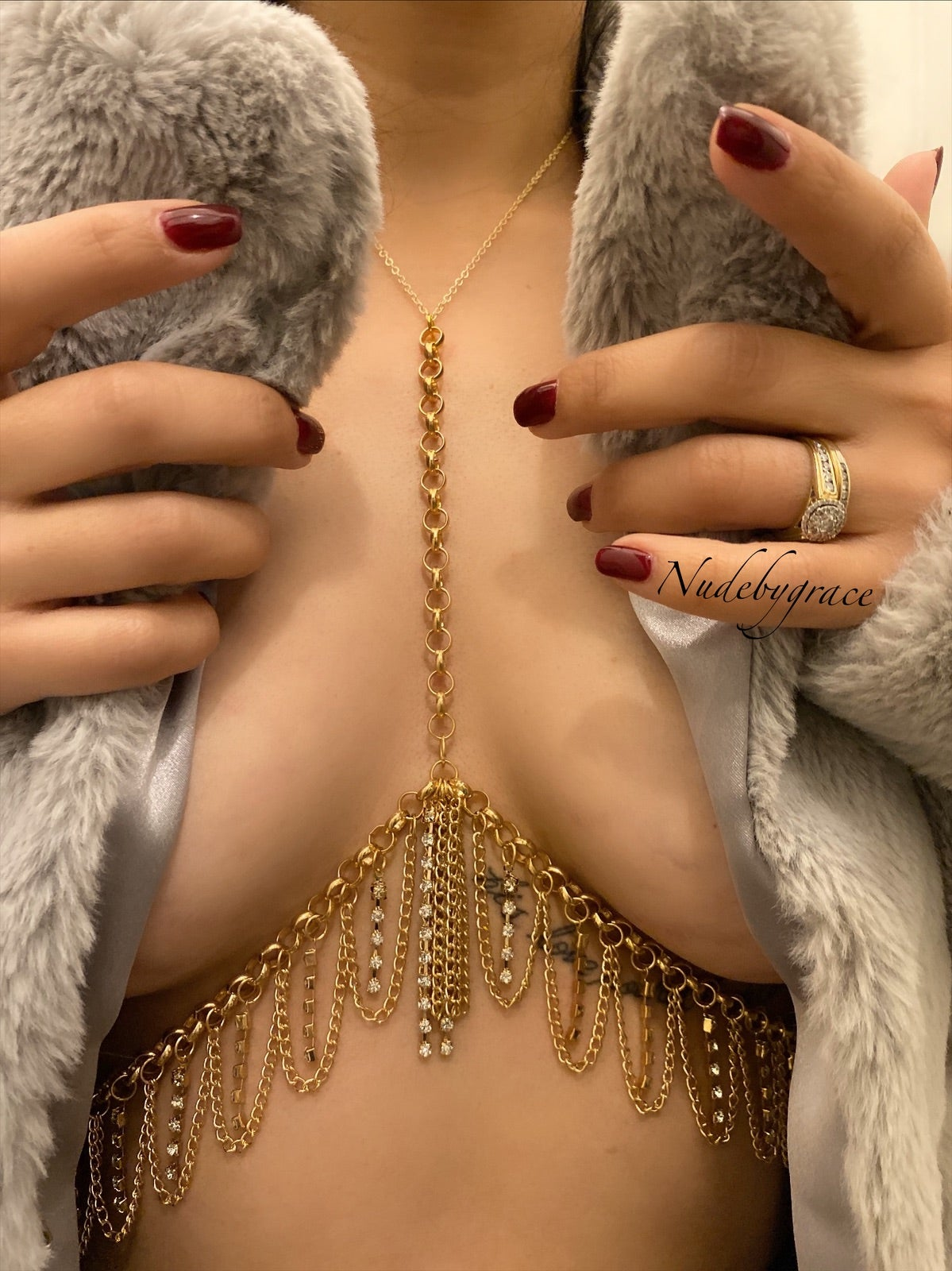Image of GOLD PLATED / CRYSTALS STATEMENT BODY CHAIN