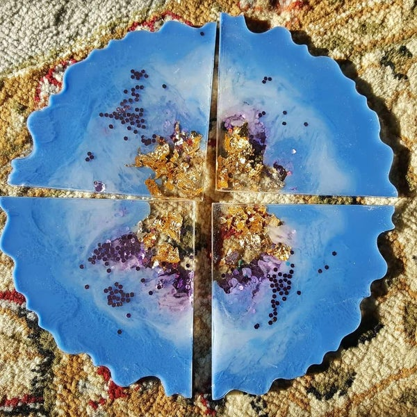 Image of Purple, Periwinkle and Gold Agate Coasters