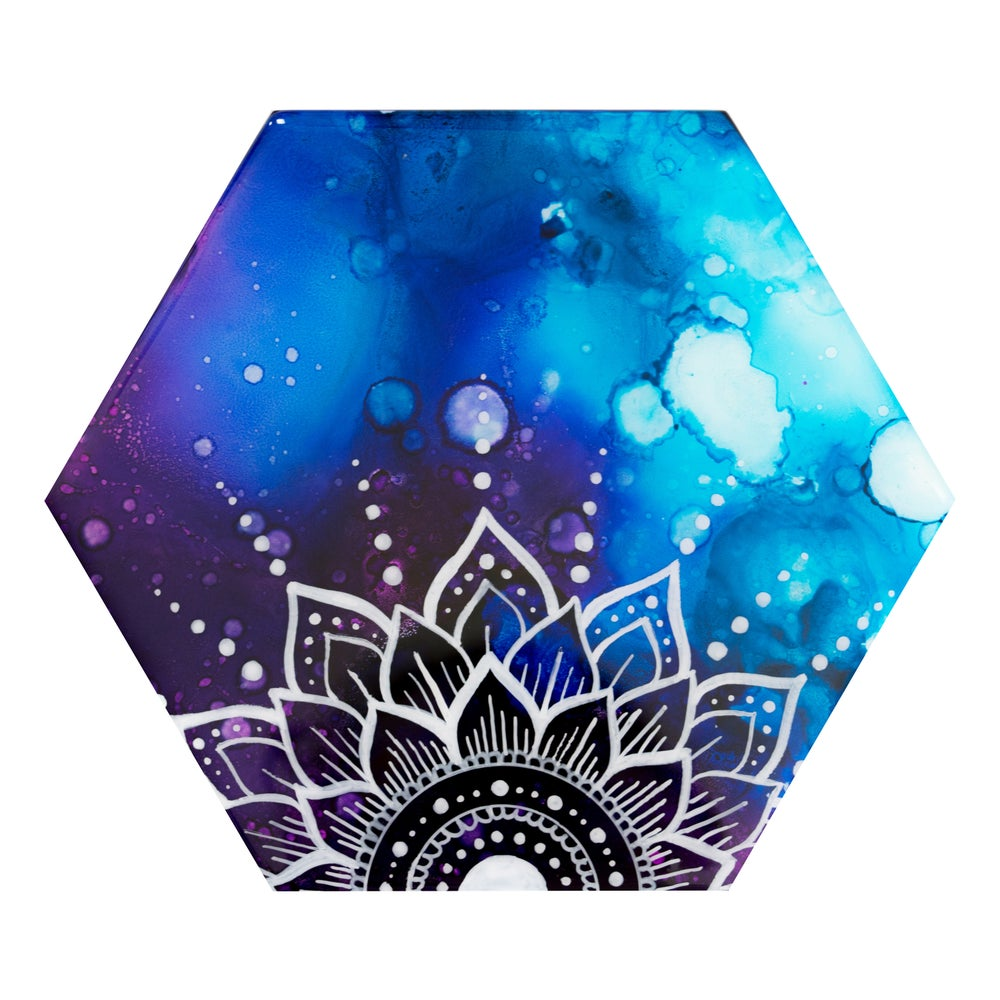 Image of blue and purple mandala hexagon painting