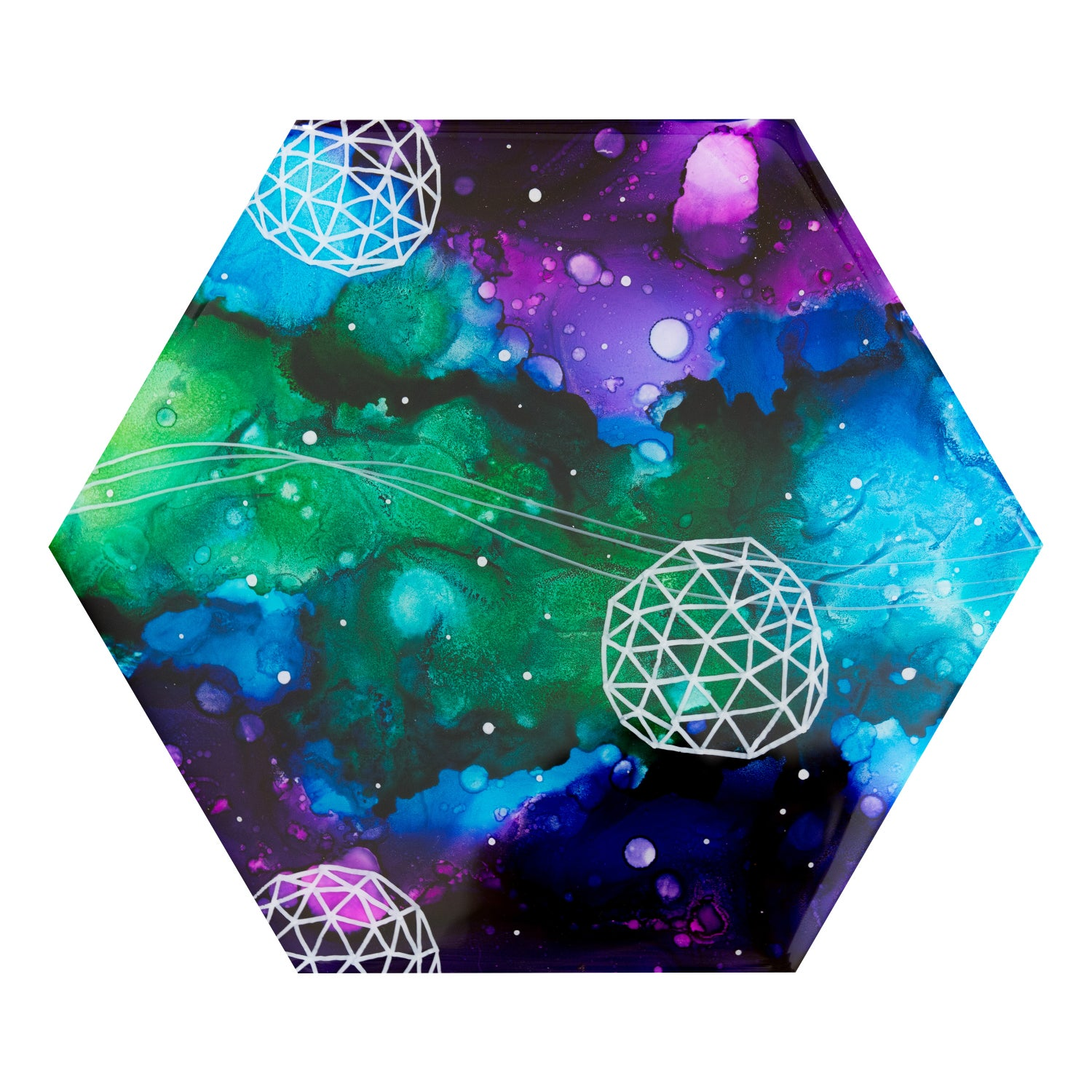 Image of green, blue and purple abstract hexagon painting
